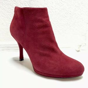 Via Spiga Booties Boots Heel Red Suede